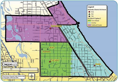 Winnetka District 36 Attendance Boundaries Map