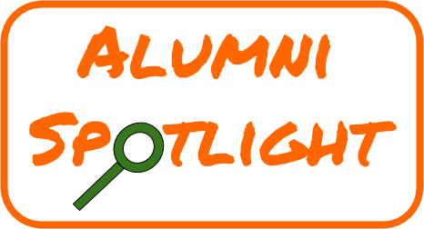 "Text ""Alumni Spotlight"" with a magnifying glass for the O."