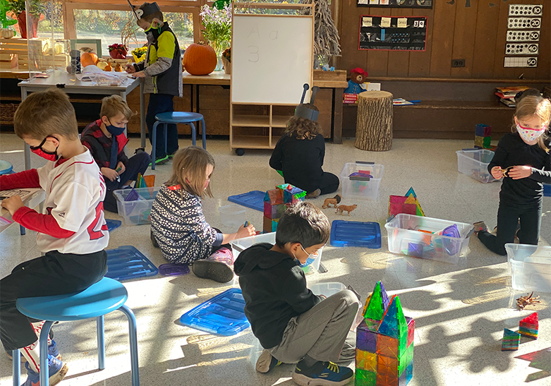 Kindergarteners in class at Crow Island