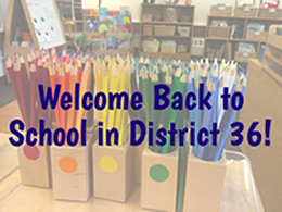 Welcome Back image with school supplies in the background